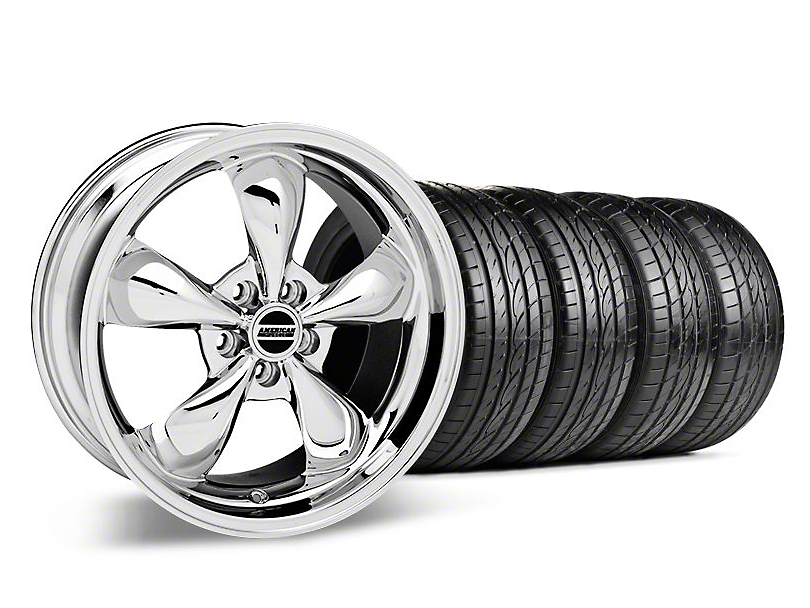 Staggered Deep Dish Bullitt Chrome Wheel & Sumitomo Tire Kit - 19x8.5/10 (05-14 Standard GT, V6)