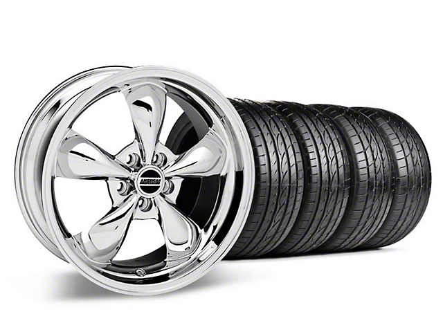 Staggered Deep Dish Bullitt Chrome Wheel and Sumitomo Maximum Performance HTR Z5 Tire Kit; 19x8.5/10 (05-14 Standard GT, V6)