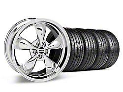 Staggered Deep Dish Bullitt Chrome Wheel and Sumitomo Maximum Performance HTR Z5 Tire Kit; 19x8.5/10 (05-14 Standard GT, V6)