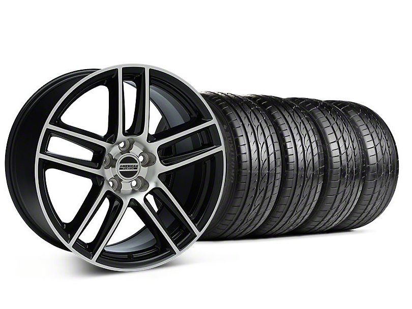 Staggered Laguna Seca Style Black Machined Wheel and Sumitomo Maximum Performance HTR Z5 Tire Kit; 19x9/10 (05-14 All)