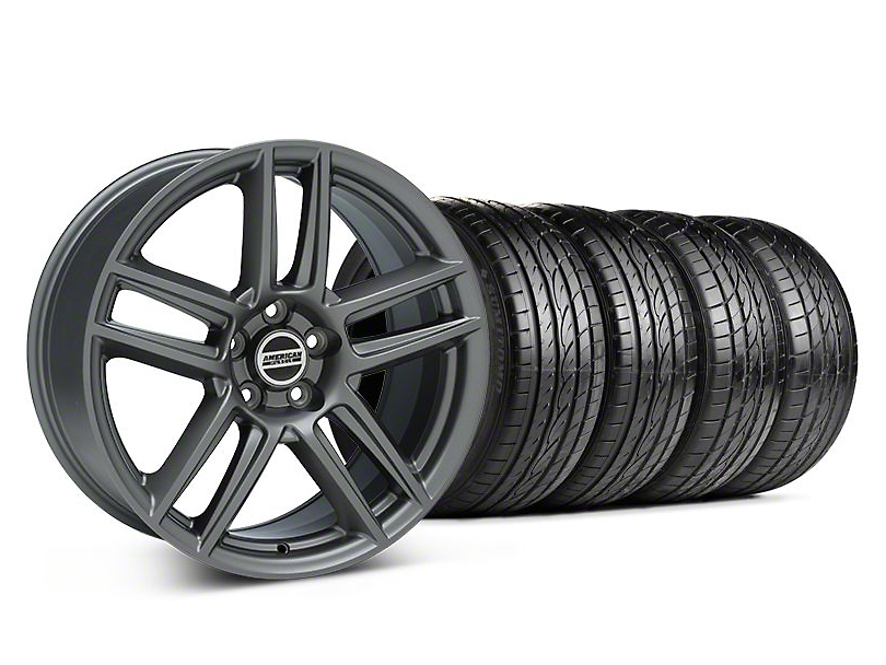 Staggered Laguna Seca Style Charcoal Wheel & Sumitomo Tire Kit - 19x9/10 (05-14 All)