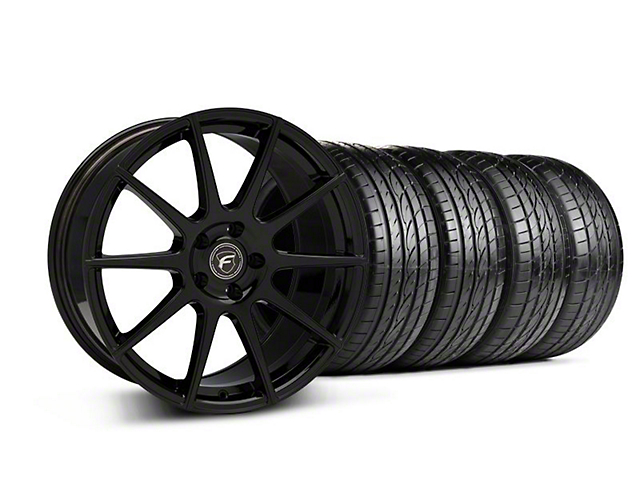 Staggered Forgestar CF10 Monoblock Piano Black Wheel and Sumitomo Maximum Performance HTR Z5 Tire Kit; 19x9/10 (05-14 All)