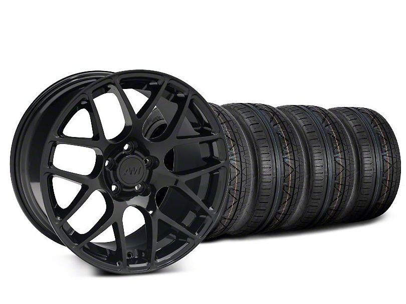 Staggered AMR Black Wheel and NITTO INVO Tire Kit; 19x8.5/10 (05-14 All)