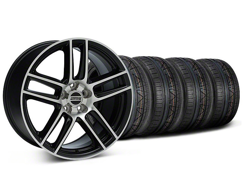Staggered Laguna Seca Style Black Machined Wheel & NITTO INVO Tire Kit - 19x9/10 (05-14 All)