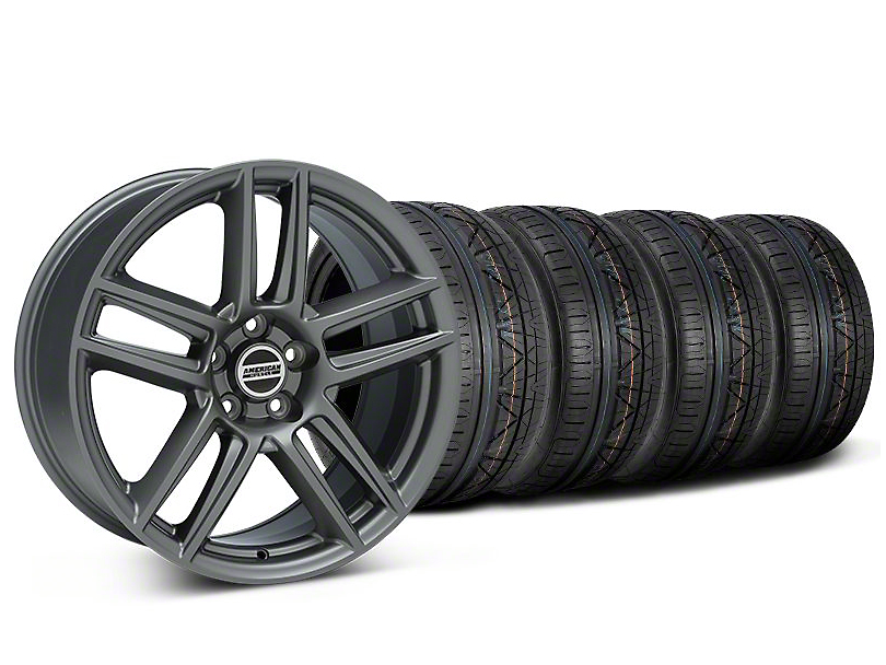 Staggered Laguna Seca Style Charcoal Wheel and NITTO INVO Tire Kit; 19x9/10 (05-14 All)