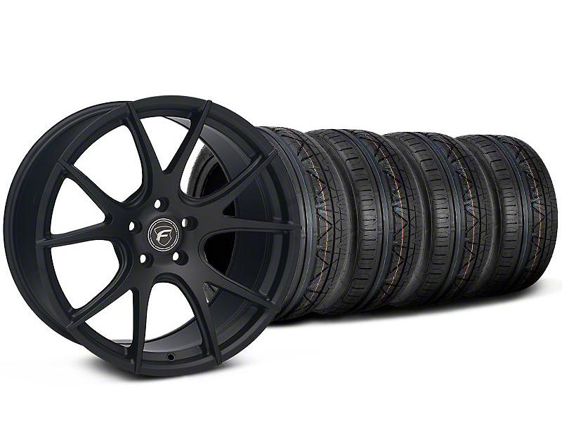 Staggered Forgestar CF5V Monoblock Matte Black Wheel & NITTO INVO Tire Kit - 19x9/10 (05-14 All)