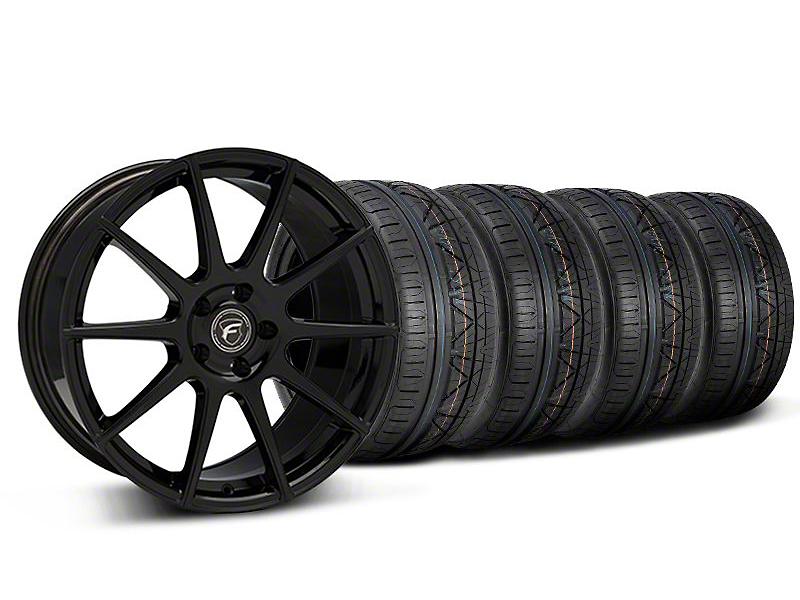 Staggered Forgestar CF10 Monoblock Piano Black Wheel & NITTO INVO Tire Kit - 19x9/10 (05-14 All)