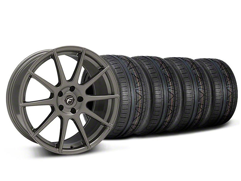 Staggered Forgestar CF10 Monoblock Gunmetal Wheel and NITTO INVO Tire Kit; 19x9/10 (05-14 All)
