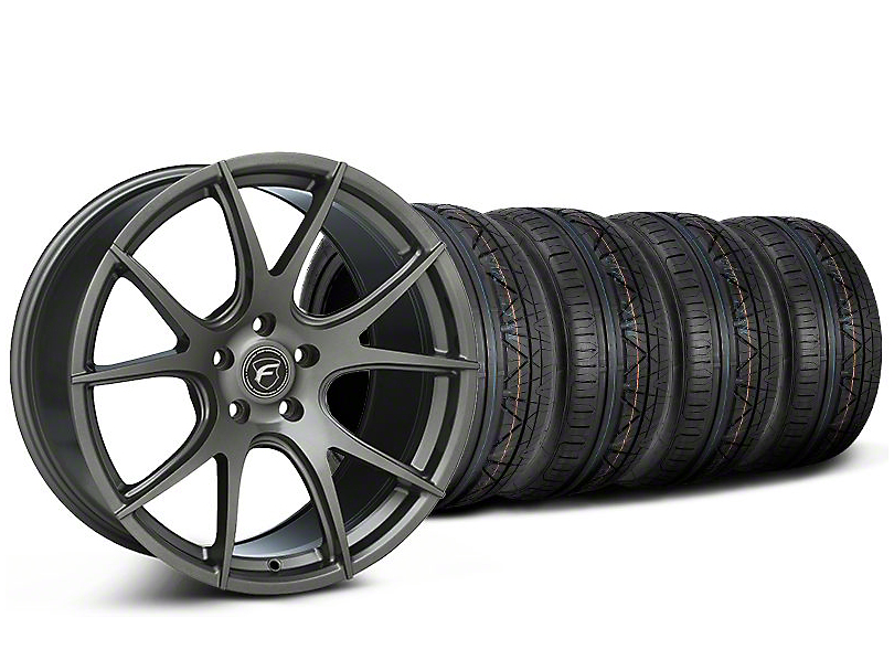 Staggered Forgestar CF5V Monoblock Gunmetal Wheel and NITTO INVO Tire Kit; 19x9/10 (05-14 All)