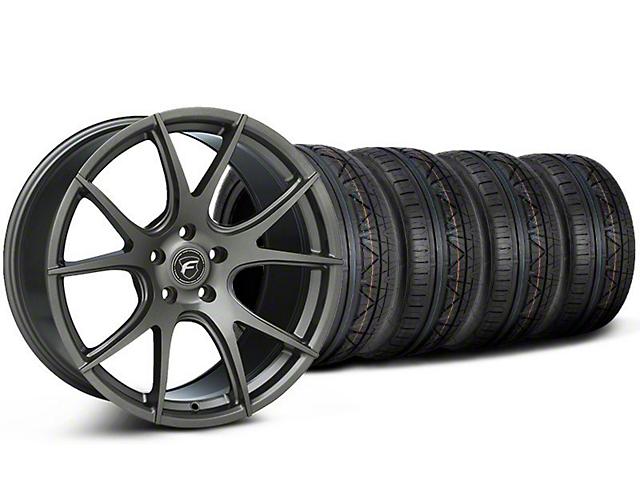 Staggered Forgestar CF5V Monoblock Gunmetal Wheel & NITTO INVO Tire Kit - 19x9/10 (05-14 All)