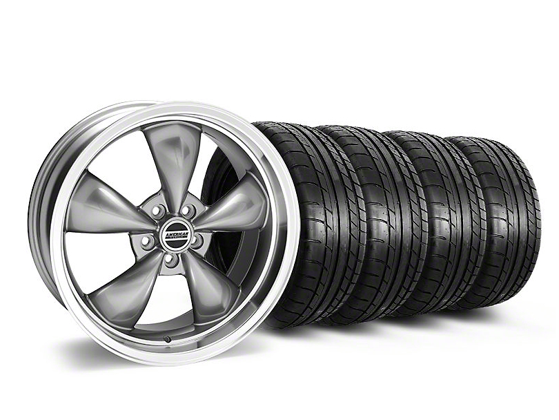 Staggered Deep Dish Bullitt Anthracite Wheel and Mickey Thompson Tire Kit; 20x8.5/10 (05-10 GT; 05-14 V6)