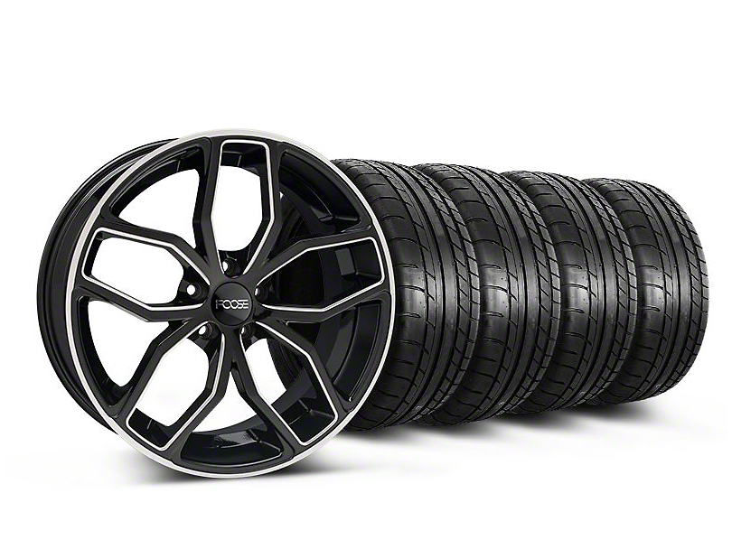 Staggered Foose Outcast Black Machined Wheel and Mickey Thompson Tire Kit; 20x8.5/10 (05-14 All)