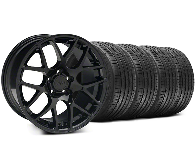 Staggered AMR Black Wheel and Sumitomo Maximum Performance HTR Z5 Tire Kit; 20x8.5/10 (05-14 All)