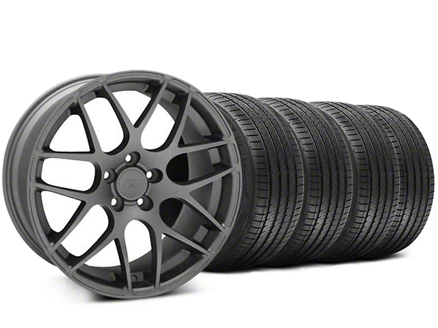 Staggered AMR Charcoal Wheel and Sumitomo Maximum Performance HTR Z5 Tire Kit; 20x8.5/10 (05-14 All)