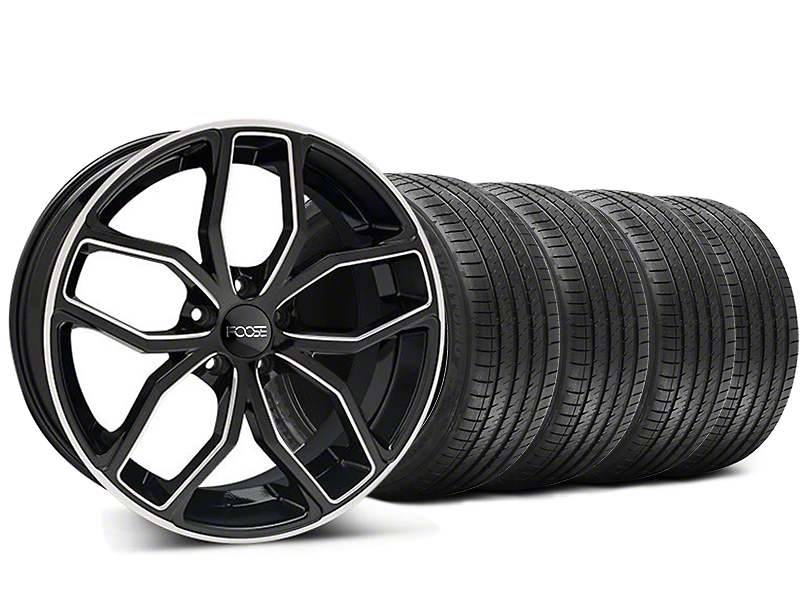 Staggered Foose Outcast Black Machined Wheel and Sumitomo Maximum Performance HTR Z5 Tire Kit; 20x8.5/10 (05-14 All)