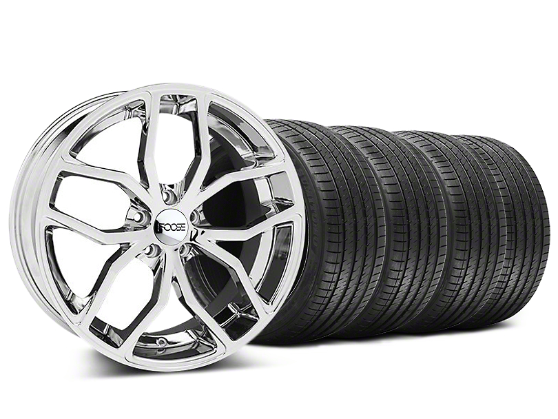Staggered Foose Outcast Chrome Wheel and Sumitomo Maximum Performance HTR Z5 Tire Kit; 20x8.5/10 (05-14 All)