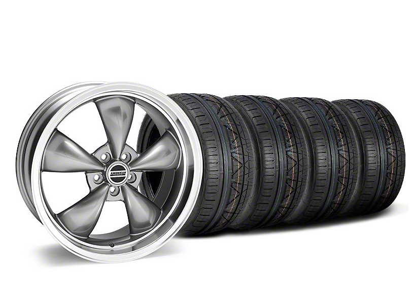 Staggered Deep Dish Bullitt Anthracite Wheel & NITTO INVO Tire Kit - 20x8.5/10 (05-10 GT; 05-14 V6)