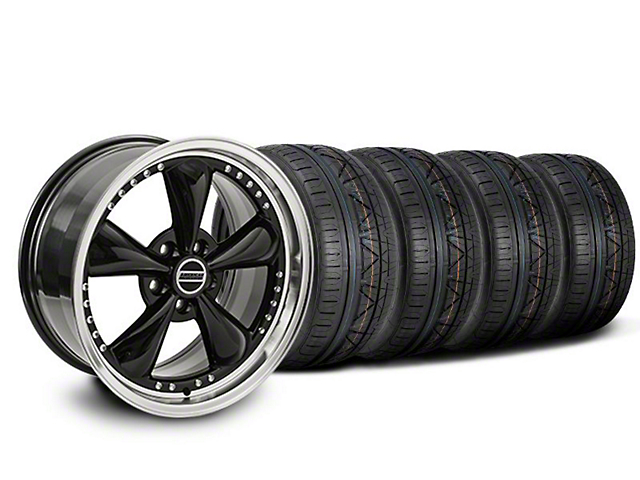 Staggered Bullitt Motorsport Black Wheel and NITTO INVO Tire Kit; 20x8.5/10 (05-10 GT; 05-14 V6)