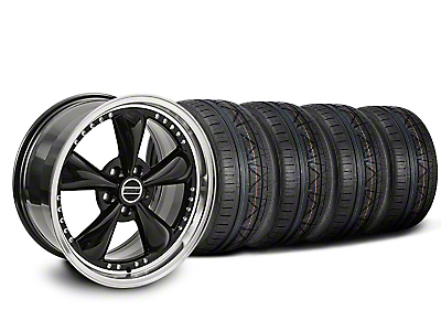 Staggered Bullitt Motorsport Black Wheel & NITTO INVO Tire Kit - 20x8.5/10 (05-10 GT; 05-14 V6)