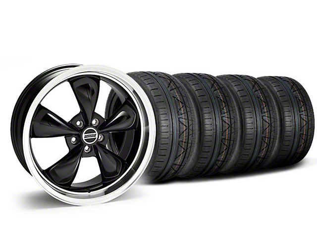 Staggered Deep Dish Bullitt Black Wheel and NITTO INVO Tire Kit; 20x8.5/10 (05-10 GT; 05-14 V6)
