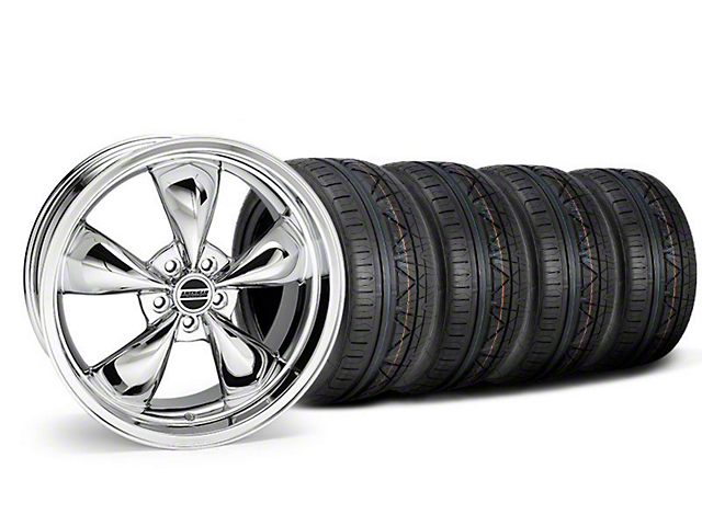 Staggered Deep Dish Bullitt Chrome Wheel and NITTO INVO Tire Kit; 20x8.5/10 (05-10 GT; 05-14 V6)