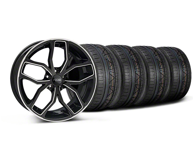 Staggered Foose Outcast Black Machined Wheel & NITTO INVO Tire Kit - 20x8.5/10 (05-14 All)