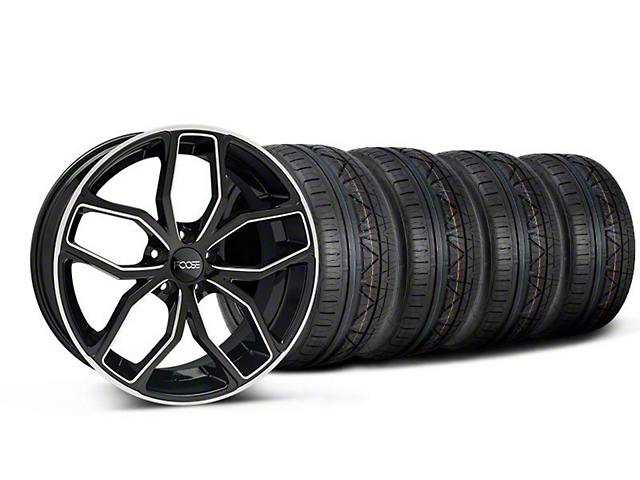 Staggered Foose Outcast Black Machined Wheel and NITTO INVO Tire Kit; 20x8.5/10 (05-14 All)