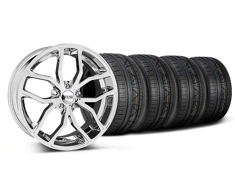 Staggered Foose Outcast Chrome Wheel and NITTO INVO Tire Kit; 20x8.5/10 (05-14 All)