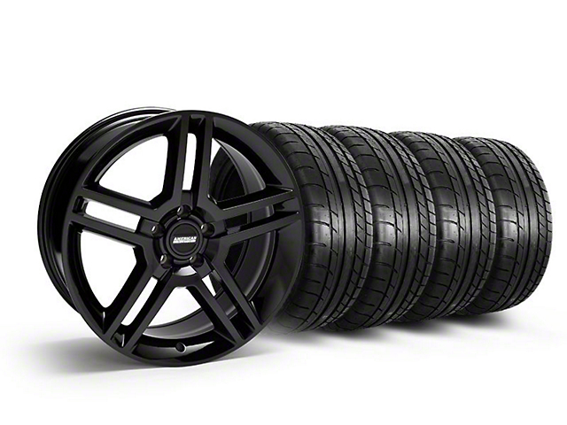 Staggered 2010 GT500 Style Black Wheel and Mickey Thompson Tire Kit; 19x8.5/10 (05-14 All)