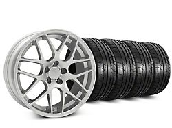 Staggered AMR Silver Wheel and Mickey Thompson Tire Kit; 19x8.5/10 (05-14 All)