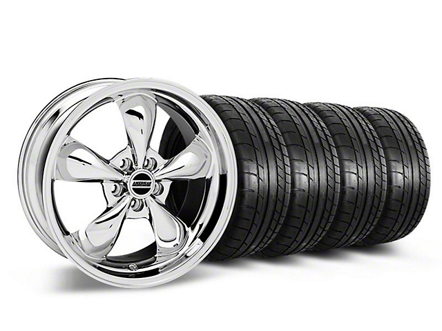 Staggered Deep Dish Bullitt Chrome Wheel and Mickey Thompson Tire Kit; 19x8.5/10 (05-14 Standard GT, V6)