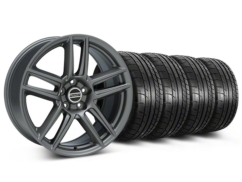 Staggered Laguna Seca Style Charcoal Wheel & Mickey Thompson Tire Kit - 19x9/10 (05-14 All)