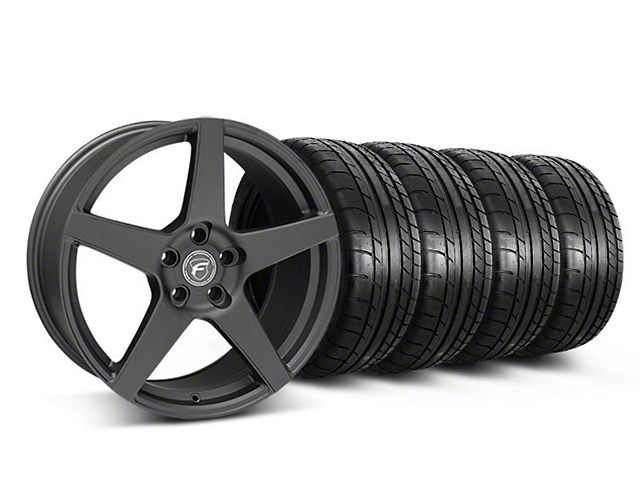 Staggered Forgestar CF5 Monoblock Matte Black Wheel and Mickey Thompson Tire Kit; 19x9/10 (05-14 All)