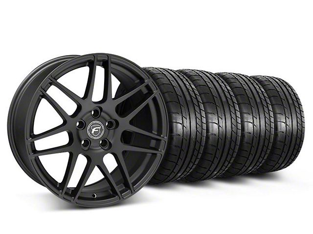 Staggered Forgestar F14 Monoblock Matte Black Wheel and Mickey Thompson Tire Kit; 19x9/10 (05-14 All)