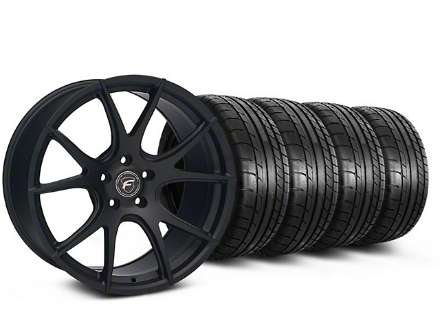 Staggered Forgestar CF5V Monoblock Matte Black Wheel and Mickey Thompson Tire Kit; 19x9/10 (05-14 All)