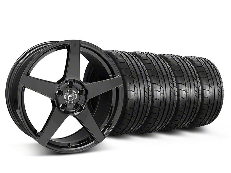 Staggered Forgestar CF5 Monoblock Gloss Black Wheel and Mickey Thompson Tire Kit; 19x9/10 (05-14 All)