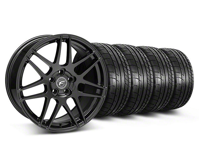 Staggered Forgestar F14 Piano Black Wheel and Mickey Thompson Tire Kit; 19x9/10 (05-14 All)