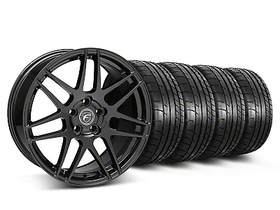 Staggered Forgestar F14 Piano Black Wheel & Mickey Thompson Tire Kit - 19x9/10 (05-14 All)