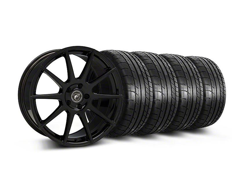 Staggered Forgestar CF10 Monoblock Piano Black Wheel & Mickey Thompson Tire Kit - 19x9/10 (05-14 All)