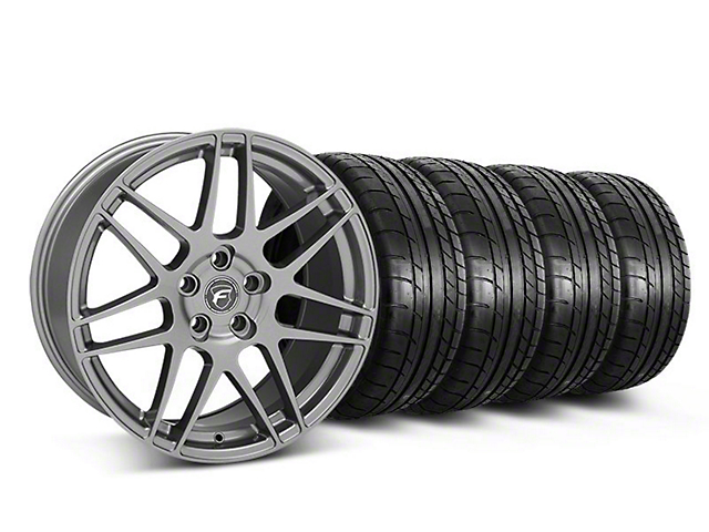 Staggered Forgestar F14 Monoblock Gunmetal Wheel and Mickey Thompson Tire Kit; 19x9/10 (05-14 All)