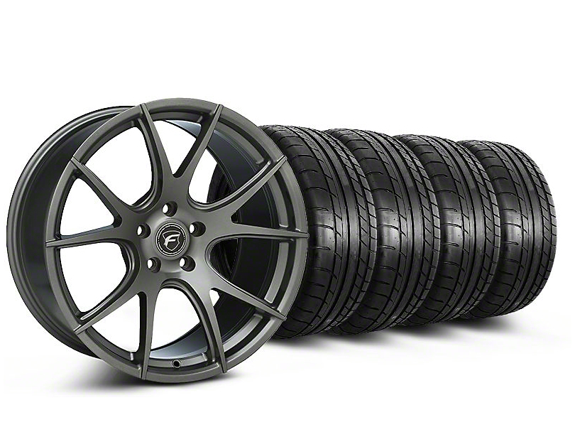 Staggered Forgestar CF5V Monoblock Gunmetal Wheel & Mickey Thompson Tire Kit - 19x9/10 (05-14 All)