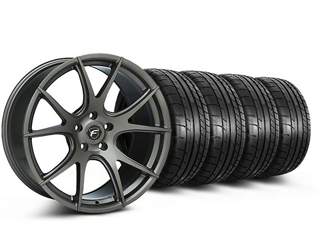 Staggered Forgestar CF5V Monoblock Gunmetal Wheel and Mickey Thompson Tire Kit; 19x9/10 (05-14 All)