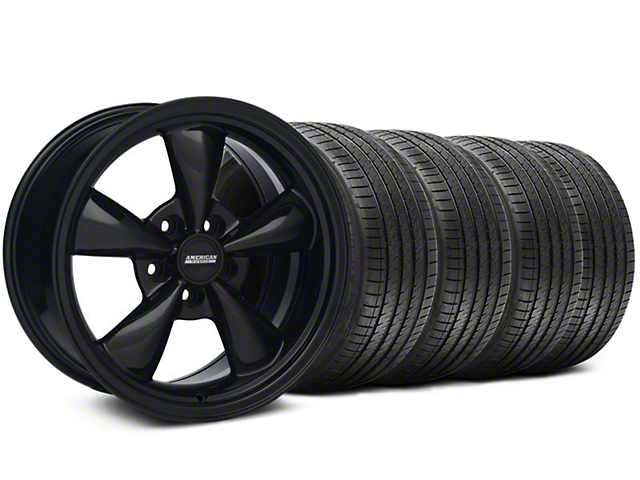 Staggered Bullitt Solid Gloss Black Wheel & Sumitomo Maximum Performance HTR Z5 Tire Kit - 18x9/10 (99-04 All)