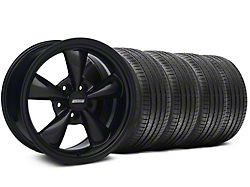 Staggered Bullitt Solid Gloss Black Wheel and Sumitomo Maximum Performance HTR Z5 Tire Kit; 18x9/10 (99-04 All)