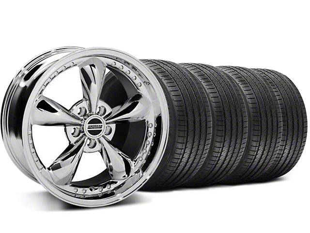 Staggered Bullitt Motorsport Chrome Wheel & Sumitomo Maximum Performance HTR Z5 Tire Kit; 18x9/10 (99-04 All)