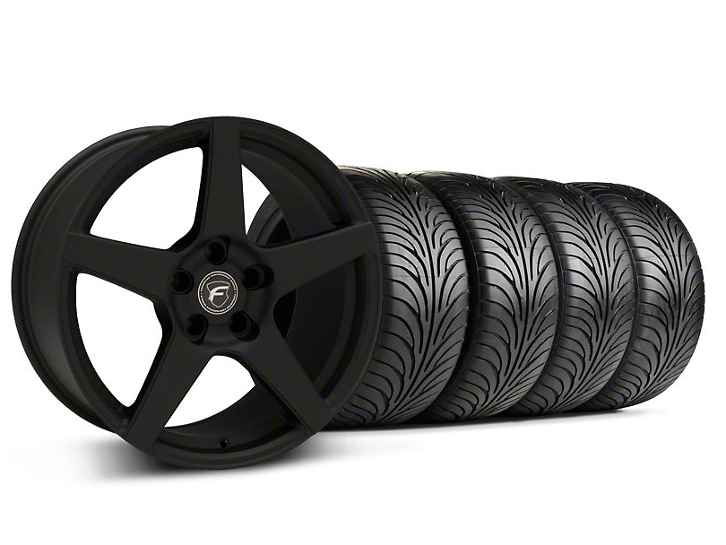 Staggered Forgestar CF5 Monoblock Textured Black Wheel & Sumitomo Tire Kit - 18x9/10 (99-04 All)