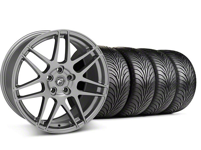 Staggered Forgestar F14 Monoblock Gunmetal Wheel & Sumitomo Tire Kit; 18x9/10 (99-04 All)
