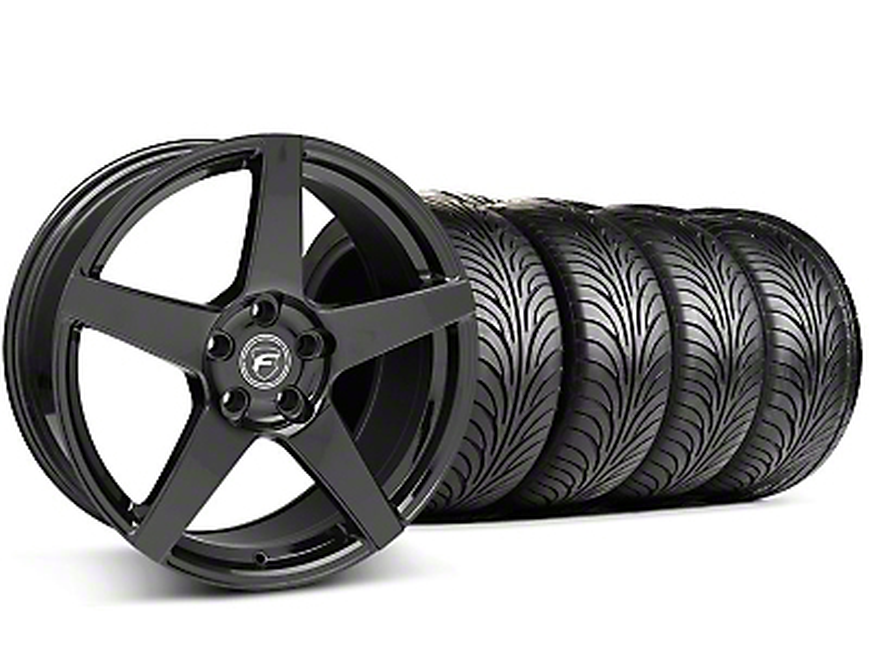 Staggered Forgestar CF5 Monoblock Piano Black Wheel & Sumitomo Tire Kit - 18x9/10 (94-98 All)