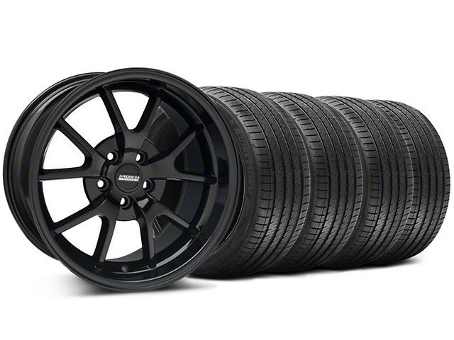 Staggered FR500 Style Gloss Black Wheel and Sumitomo Maximum Performance HTR Z5 Tire Kit; 18x9/10 (94-98 All)