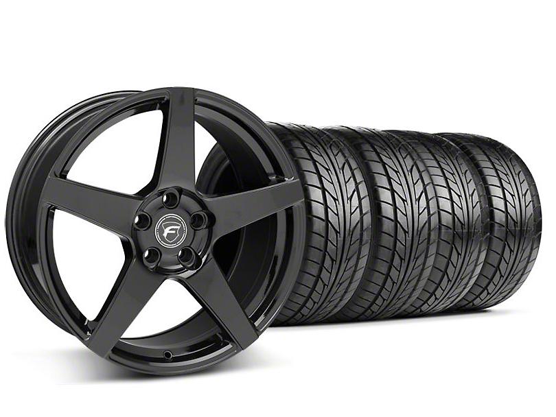 Staggered Forgestar CF5 Monoblock Piano Black Wheel & NITTO Tire Kit - 18x9/10 (94-98 All)